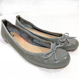 Grey Patent Leather Classic Ballet Flats